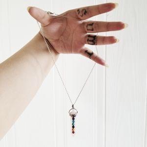 Silver necklace with rose quartz pendant